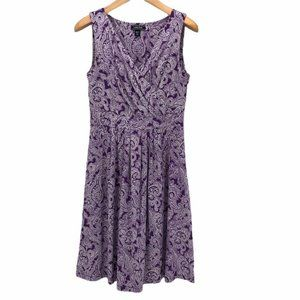 Lands End Womens Faux Wrap Purple White Stretch M